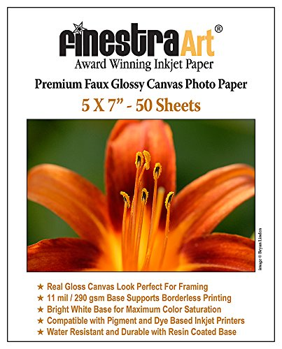 5x7 Canvas Textured Premium Inkjet Photo Paper 11 mil 50 Sheets