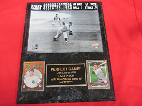 Don Larsen Yankees 1956 Perfect Game LAST PITCH 2 Card Collector Plaque w/8x10 Photo!