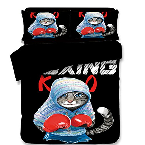 Top Koongso 3D Blue Boxing Cat with Red Glove Digital Print Bedding Sets Reversible 3 Pieces Cartoon Duvet Cover Set for Kids Boys Teens,Twin/Full/Queen/King Size hot sale