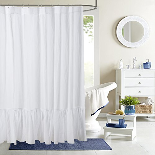 Low Profile Luxury Pure Flax Linen Shower Curtain with Pleated Bottom, in White Color (72Wx81H)