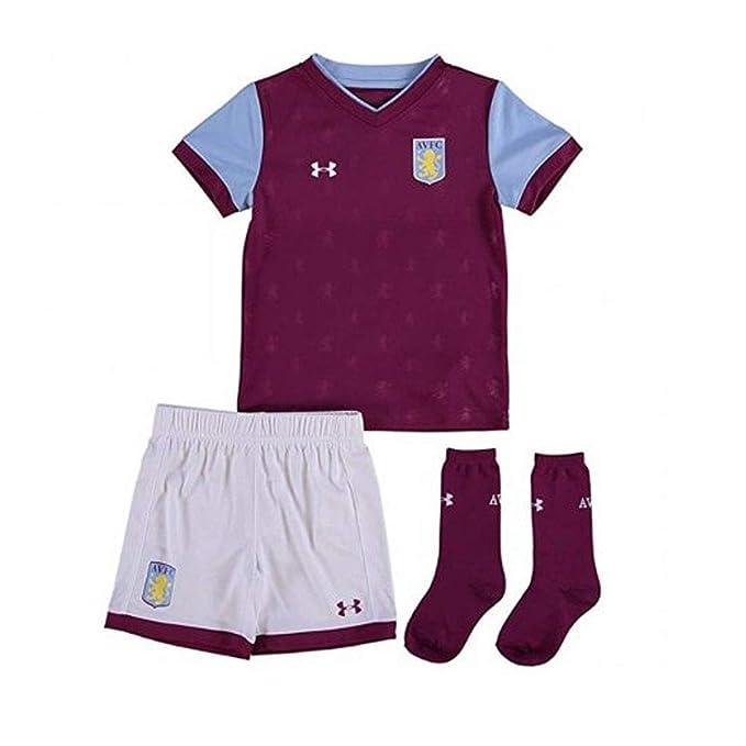Aston Villa 17/18 Kids Home Football Replica Kit - Royal Magenta