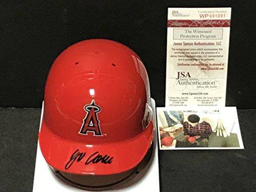 (Jordon Jo Adell Los Angeles Angels Autographed Signed Mini Baseball Helmet JSA WITNESS COA)