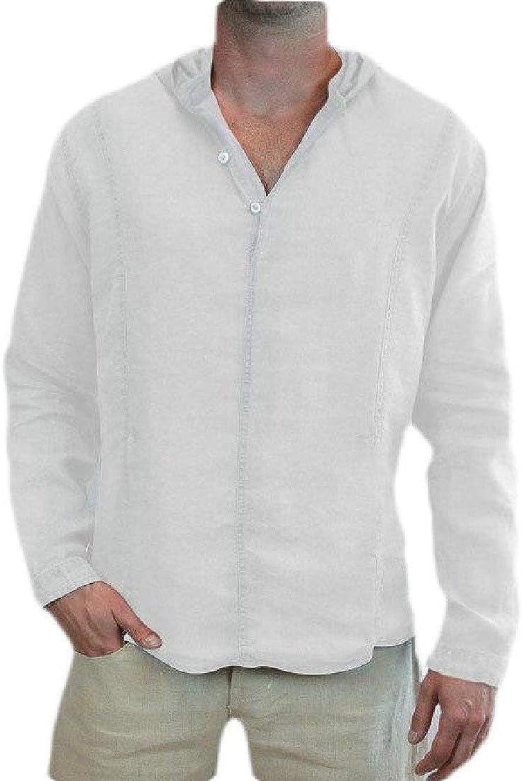 Zantt Mens Solid Color Long Sleeve Linen Blouse Top Hoodie Dress Work Shirt