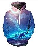 NAYINLAN Unisex Couple 3D Galaxy Print Pullover Hoodie Hooded Sweatshirt,Blue