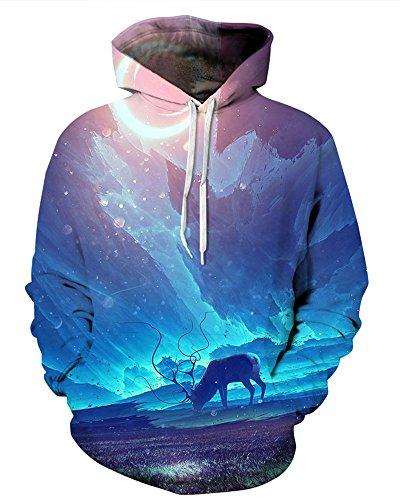NAYINLAN Unisex Couple 3D Galaxy Print Pullover Hoodie Hooded Sweatshirt,Blue by NAYINLAN