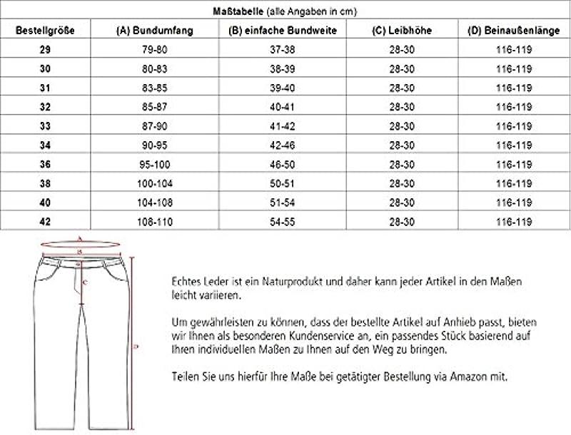 RICANO Trant Pant, męskie spodnie skÓrzane (Straight Leg Cut/Regular Waist), jagnięca skÓra Nappa (czarny, niebieski, brązowy, koniak brązowy): Odzież