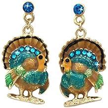 cocojewelry Turkey Dangle Charm Post Stud Earrings Thanksgiving Jewelry