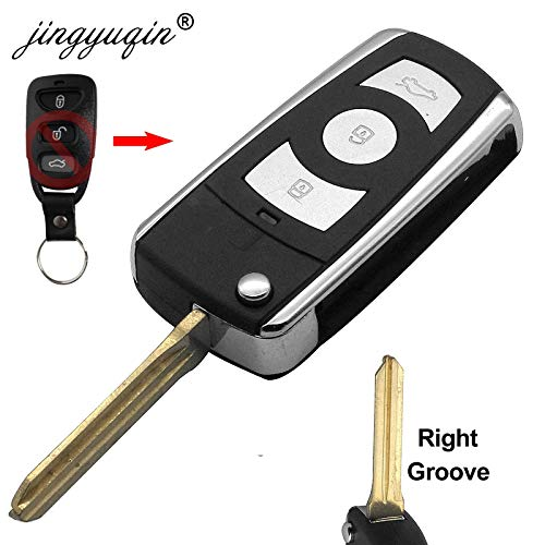 (AjaxStore - Qin Right Blade 3 Buttons Modified Flip Key Shell For HYUNDAI Coupe Tucson Elantra Accent Santa Fe i10 For Kia fobCase)
