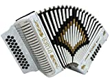 D'Luca D3112T-GCF-WH Toro Button Accordion 31 Keys 12 Bass on GCF Key with Case and Straps, White