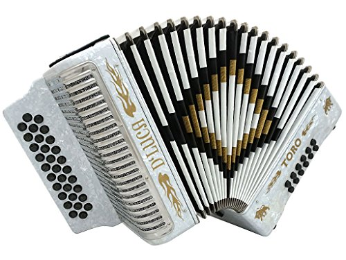 D'Luca D3112T-GCF-WH Toro Button Accordion 31 Keys 12 Bass on GCF Key with Case and Straps, White by D'Luca