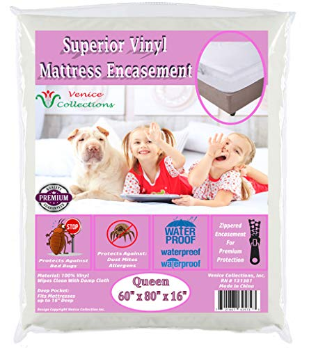 v Superior Extra Heavy 8 Gauge Vinyl Mattress Protector Zippered Encasement Cover 100% Waterproof & Bed-Bug Proof Queen