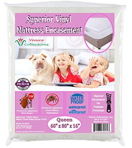 v Superior Extra Heavy 8 Gauge Vinyl Mattress Protector Zippered Encasement Cover 100% Waterproof & Bed-Bug Proof Queen