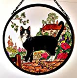 Decorative Hand Painted Stained Glass Window Sun Catcher/Roundel in a Cottage Garden Cat Design.