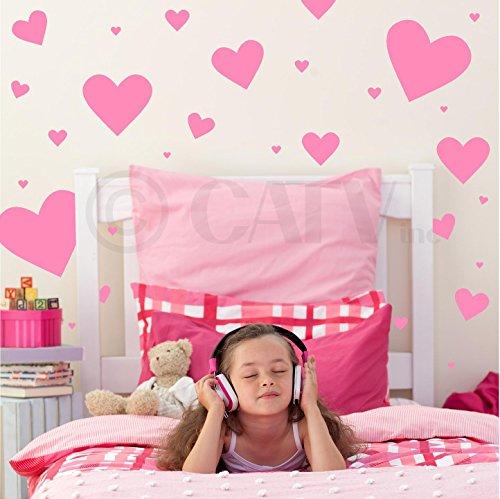 Hearts assorted set of 50 vinyl decals (Pink)