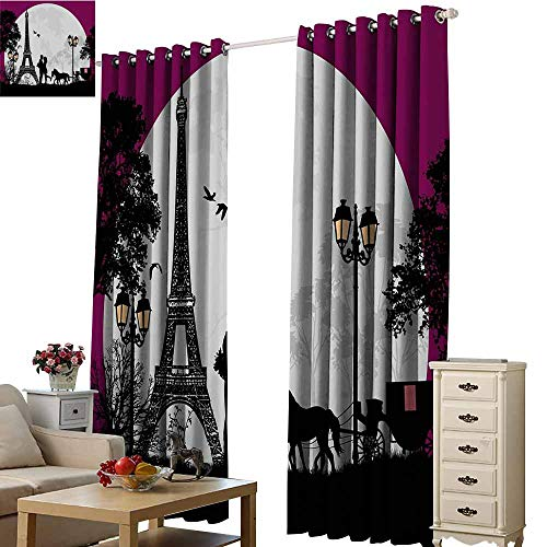 Beihai1Sun Blackout Window Drapes Luxury Romantic Horse Carriage Couple Hugging in Front of The Eiffel Tower and Full Moon Fuchsia Grey Black for Living Room Bed Room W72 x H108
