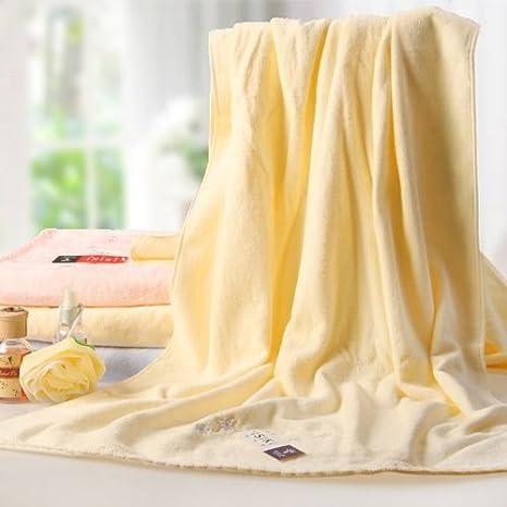 ZYZX Bordados de algodón Toalla de baño Toallas Toallas de Playa Puntilla -145 * 80cm Amarillo: Amazon.es: Hogar