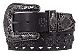 Harley-Davidson Womens Raven Rider Embellished Leather Belt, HDWBT11376-BLK (XL)