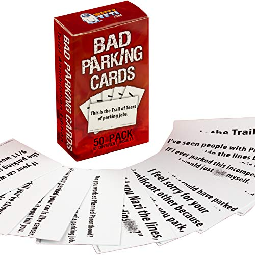 Witty Yeti Hilarious Bad Parking Cards Total Annihilation Edition 50 Pk 5 x 10 Sayings Perfect for Shaming Drivers. Funny Road Rage Revenge, Gag Gift, Prank Insult Set and White Elephant Novelty (Gifts Shitty Christmas)