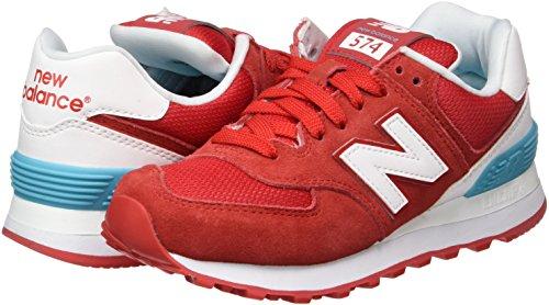 Para Suede red 574 Balance Mujer Rojo Zapatillas New qvZPpwU