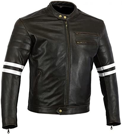 Ivory stripe 4XL Bikers Gear Australia Classic Retro Style The Bonnie Cowhide Leather Motorcycle Jacket with CE1621-1 Removable Armour