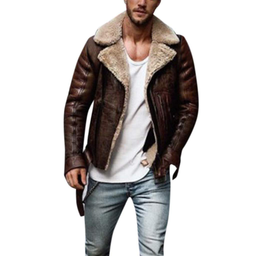 LUCAMORE Mens Suede Leather Jackets Sherpa Coats Shearling Winter Fur Motorcycle Windproof Warm Fuzzy Outwear Brown by Luca-Coat