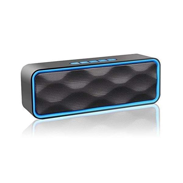 Enceinte Bluetooth Portable, Aigoss Haut Parleur sans Fil, Bluetooth 4.2 Subwoofer, Son HD Stéréo, Mains Libres Téléphone, Radio FM, Carte TF Support, pour iPhone, iPad, Samsung etc 1