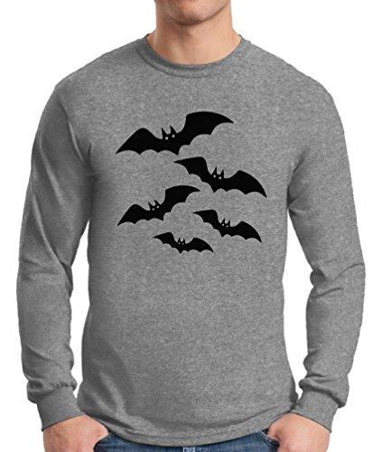 Bat Long Sleeve T-shirt - Awkward Styles Men's Halloween Bats Long Sleeve T Shirt Tee Halloween Bats Costume Idea Sportgrey L