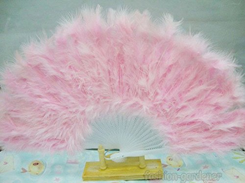 Pink Soft Fluffy Lady Burlesque Wedding Hand Fancy Dress Costume Dance Feather Fan