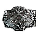 Landisun Handmade American Country Music Silver Dual Guitar Belt Buckle