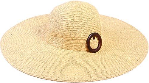 [Simplicity Women's Wide Brim Summer Beach Sun Straw Hats, 373_Natural] (Farmers Dress Up Costumes)