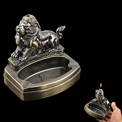 Piioket Lion Shaped Novelty Cigarette Cigar Lighter Refillable Butane Gas Lighter with Ashtray Ash Tray