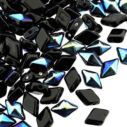 Czech Glass DiamonDuo, 2-Hole Diamond Shaped Beads 5x8mm, 10 Grams, Jet Black AB