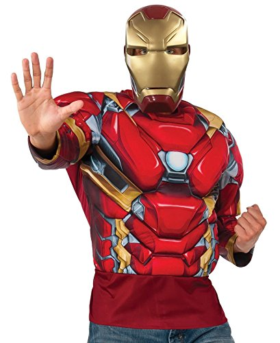 Marvel Men's Captain America: Civil War Muscle Chest Iron Man Long Sleeve Costume Top, Multi, - Man Muscle Iron Chest