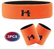Hoter Sweatband Set Sports Headband Wristband Set Sweatbands Terry Cloth Wristband Athletic Exercise Basketbal