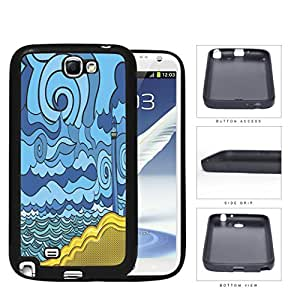Psychedelic Aqua Seashore Lighthouse Rubber Silicone TPU Cell Phone Case Samsung Galaxy Note 2 II N7100
