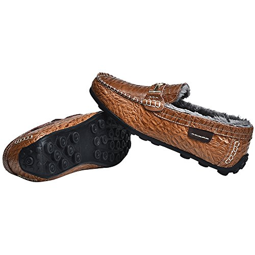 Rismart Mens High-End Water Resistant Croco Stamping Leather Driving Shoes Stylish Warm Lining Loafer Flats Brown Plush 1314-1 US8 4YGGG