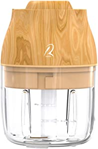Electric Garlic Chopper,Mini Garlic Chopper, Wooden Top, Type-C Charging, Portable, Waterproof, Safe Child Lock, Food Processor For Garlic, Chili and Meat, Assisted Food for Baby and Pet-Yellow Wooden
