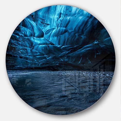 Designart MT8819-C38 Beautiful Ice Cave in Iceland Landscape - Disco de fotos (metal, 96,5 x 96,5 cm), color azul