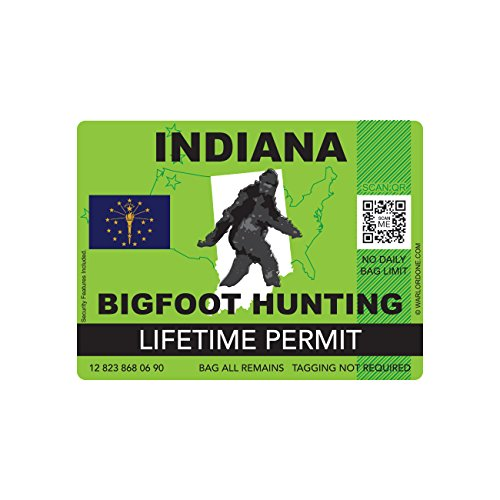 Indiana Bigfoot Hunting Permit Sticker Die Cut Decal Sasquatch Lifetime FA Vinyl