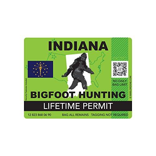Indiana Bigfoot Hunting Permit Sticker Die Cut Decal Sasquatch Lifetime FA Vinyl