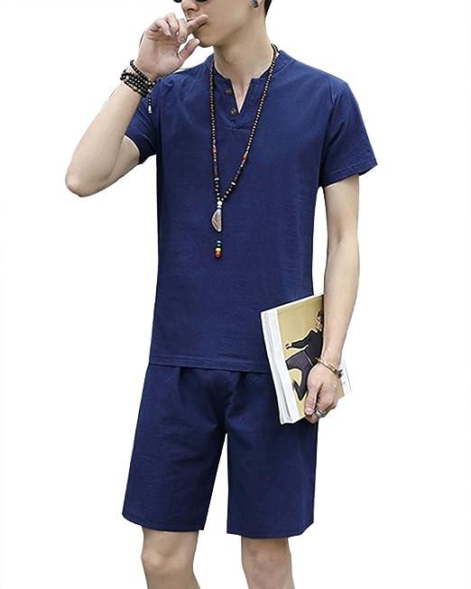 ShiFan Pijama De Dos Piezas Hombre Casual Manga Corta Lino Camiseta Y Pantalones Cortos Azul Marino