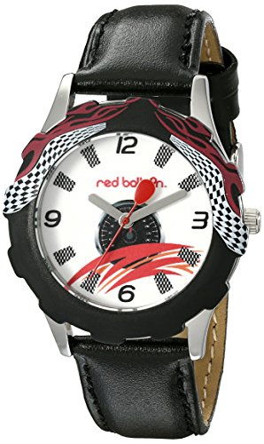 Price comparison product image Red Balloon Kids' W000345 Speed Racing Tween Stainless Steel Printed Bezel Black Leather Strap Watch