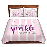 Duvet Cover Brushed Twill Twin, Queen, King Sets DiaNoche Designs by Artist Zara Martina - She Sparkles Stripe l Pinks Home Decor, Bedroom and Bedding Ideas