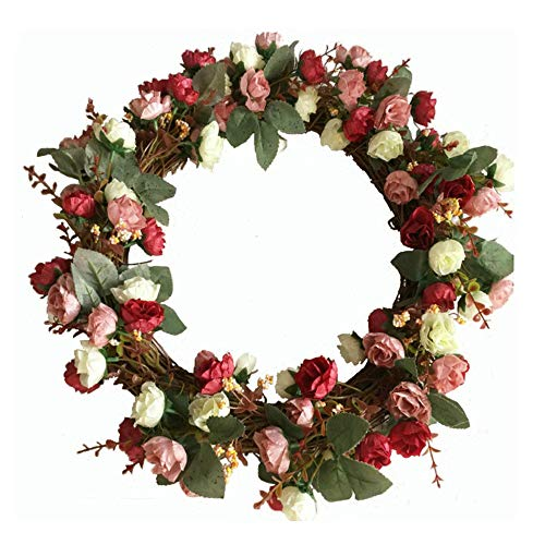 Goyop Rose Wreath Artificial Flower Blossom Garland, 16 Inch Solid Wood Floral Wreaths Flowers Arrangements Spring Decor Home Office Wall Wedding Decoration Year Round Display, Red & Pink ()