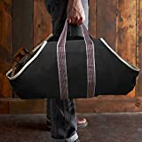 Image of Large Canvas Log Tote Bag Carrier Indoor Fireplace Landman Firewood Totes Holders Round Woodpile Rack Fire Wood Carrier Carrying for Outdoor Tubular Birchwood Stand by Hearth Stove Tools Set Basket