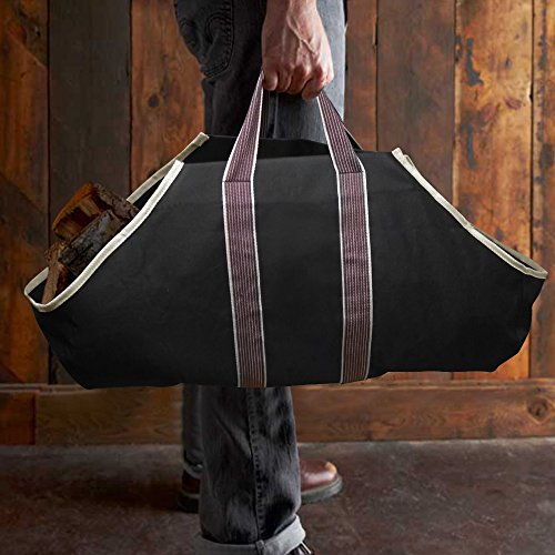 Large Canvas Log Tote Bag Carrier Indoor Fireplace Landman Firewood Totes Holders Round Woodpile Rack Fire Wood Carrier Carrying for Outdoor Tubular Birchwood Stand by Hearth Stove Tools Set Basket Image