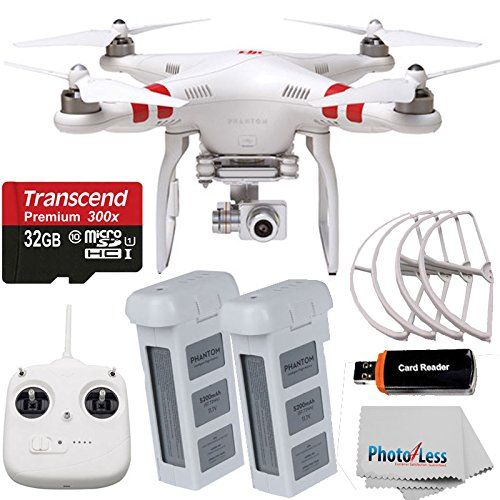 DJI Phantom 2 Vision+ V3.0 Quadcopter with Gimbal-Stabilized 14MP, 1080p Camera + Extra Battery + And 4 9-Inch Prop Guards + 32GB microSDHC Memory Card plus Photo4less® Microfiber Cleaning - Quad Props Micro Copter For