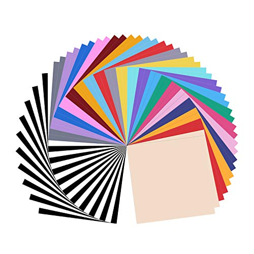 Permanent Adhesive Vinyl Sheets - Includes Assorted Colors (12'' X 12'' Matte & Glossy) Work with Silhouette,Cameo, Outdoor Decal ()