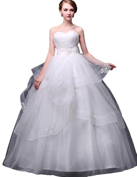 1fe7fc179bf54 Vimans® 2016 lunghi da donna Sweetheart pizzo per abiti da sposa vestiti da  sposa  Amazon.it  Abbigliamento