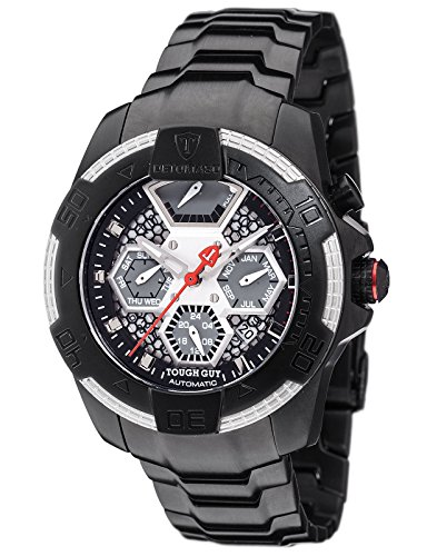 DETOMASO TOUGH GUY Men's Automatic Wrist Watch Black Analog Display Stainless Steel Case and Strap DT-ML103-D